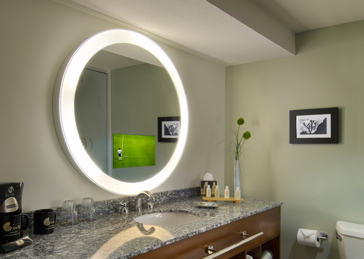 bathroom television mirror radiance electric mirror tv bath amp spa peabody hotel 11552